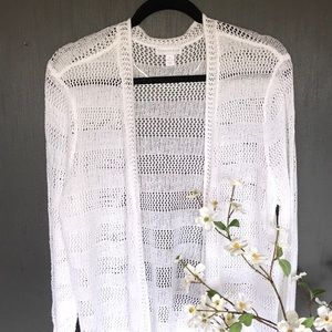 Charter Club White  Open-Knit Striped Cardigan New